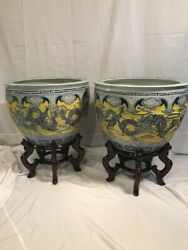 2 Large Carved Chinese Porcelain Dragon Fishbowl Imperial Planters Yellow Glazeandnbsp