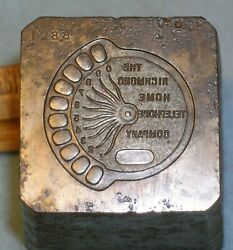 1907 Richmond Home Telephone Company Badge Stamping Die In Indiana Mc Lilley