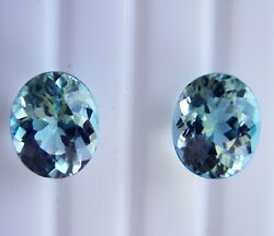 8.06ct Matching Pair Aquamarines Expertly Faceted In Germany +cert Available