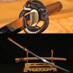 Japanese Samurai Sword Katana Clay Tempered Fulltang Sharp Blade Python Koshirae