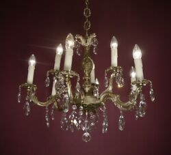 NICKEL CRYSTAL FRENCH CHANDELIER LAMP HOME DECOR HALL ENTRYWAY