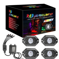 4-pods Rgb Led Rock Lights Wireless Bluetooth Music Multi-color Truck Off Road