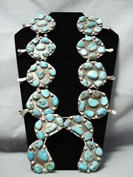 One Of Biggest Vintage Navajo Turquoise Sterling Silver Squash Blossom Necklace