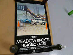 Vintage Meadow Brook Historic Races Poster Signed By Artist 427 Cobra