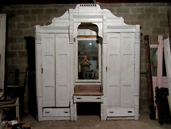 Antique Carved Walnut Closet Front Built In Armoire 110 X 115 Salvage