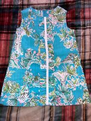 LILLY PULITZER turquoise JUNGLE GLAM dress EUC girls sz 2 RARE ORIGINALS HTF