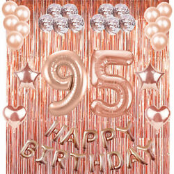 95th Rose Gold Happy Birthday Banner Confetti Balloon Party Decoration Supplies