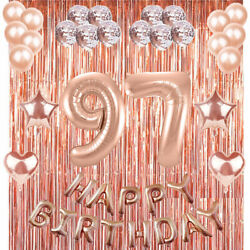 97th Rose Gold Happy Birthday Banner Confetti Balloon Party Decoration Supplies