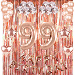 99th Rose Gold Happy Birthday Banner Confetti Balloon Party Decoration Supplies