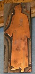 """Antique Masonic Hooded Robe Guide W/ Lg Skull And Bones 3"""" Copper Printing Plate"""