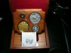 1991 China 10th Anniversary Panda Collection 4 Coin Gold Silver Set Box Coa