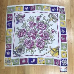 Vintage 1940s Flowers Of The Nations Collectable Designer Scarf
