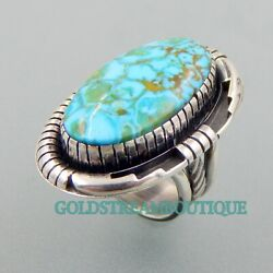 Solid Handcrafted Sterling Silver Kingman Turquoise Southwestern Ring Size 8.25