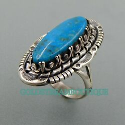 Nice Handcrafted Sterling Silver Mountain Turquoise Southwestern Ring Size 8