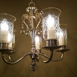 Vintage Lighting Fabulous Silver Crystal 1940s Chandelier By Levolite