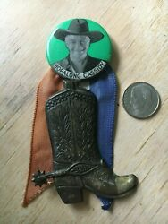 1950's Hopalong Cassidy Pin With Ribbon And Boot
