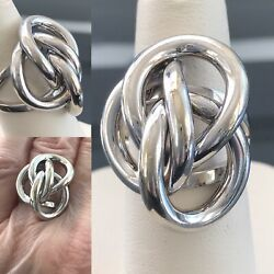 1972 Grosse German Love Knot 18k White Gold Statement Ring Size 6.25