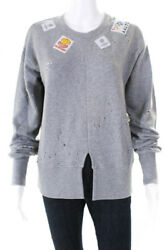 Aalto Womens Distressed Patches Sweatshirt Light  Grey Cotton Size 34