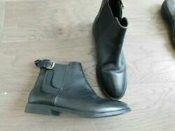 Top Shop Size 7.5 Black Designer Ankle Height Low Heel Leather Boots $24.99