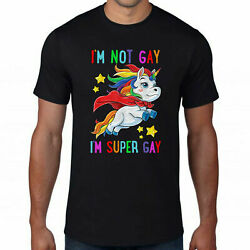 I'm Not Gay Unicorn Lgbt T-Shirt T-Shirts Gift Tee size M-3XL Men's Shirt Trend $9.99
