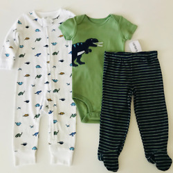 Carters Baby Boy 9 Months Sleep And Play Set Pajamas Footed Pant Bodysuit Dinosaur