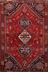 Antique South-western Geometric 4x6 Abadeh Kashkuli Area Rug Vegetable Dye Wool