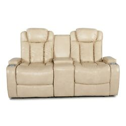 Lane Galactica Cream Home Theater Loveseat Storage Console Power Recline Chairs