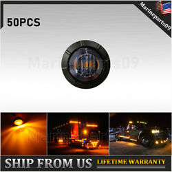 50x Mini 3/4 Round Amber Led Clearance Bullet Marker Lights Truck Boat Trailer