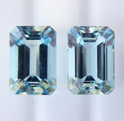 5.94ct Matching Pair Aquamarines Expertly Faceted In Germany +cert Included