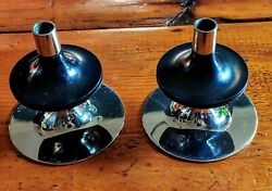 Fritz Nagel Candle Holders West Germany Mid Century Modern Stackable Chrome