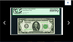 100 1928a Dark Green Seal Federal Reserve Note. Pcgs Choice About New 55ppq ==
