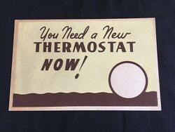 Vtg 50s Western Auto In Store Ad Cardboard Sign You Need A New Thermostat Now