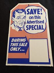 Vtg 50and039s Western Auto In Store Ad Cardboard Price Tag Sign Manager Special 2