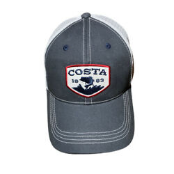 New Costa Del Mar Mesh Cap Bass Patch Hat Trucker SnapBack Navy - White 6 Panel