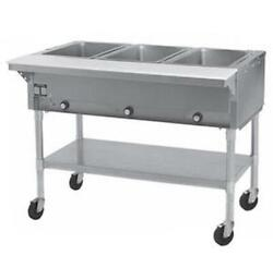 Eagle Group Pdht3 3-well Mobile Electric Hot Food Table W/ Galvanized Shelf