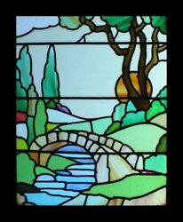 Special And Very Rare Art Deco Sunburst River Scene English Stained Glass Window