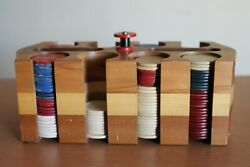 Lot Of 199 Misc Vintage Clay And Paper Poker Chips With Wood Holder