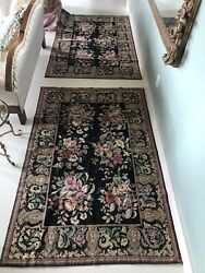 Stunning Pair 4 X 6 Needlepoint Floral Pink Roses Rugs