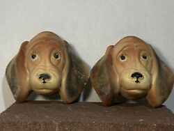 Collectible Antique Chalkware Wall Art of Cute Dogs Vintage Basset Hound Decor