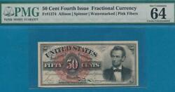 Fr.1374 .50 Cent Lincoln 4th. Issue Fractional Pmg Certified Choice New 64epq