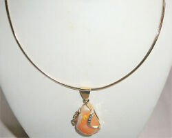 Priced To Sell Mexican Fire Opal Pendant 14k Gold With Diamonds Flex Neck Ring