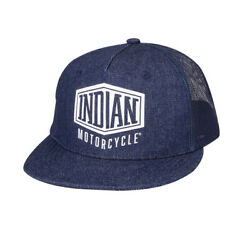 Indian Motorcycle High Profile Denim Trucker Hat Blue - One Size