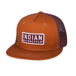 Indian Motorcycle High Profile Patch Trucker Hat Brown - One Size