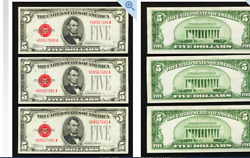 Dealers Or Collectors Special Fr1530 5 1928e Legal Tender Three Examples ======