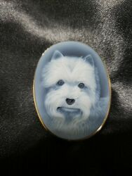 14k Gold Yorkshire Terrier Cameo Agate