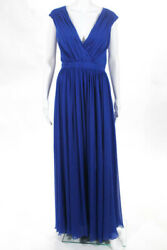 Badgley Mischka Collection Blue V Neck Sea Waves Gown 740 Size 10 10346459