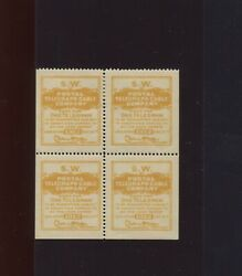 Scott 15to28 El Paso Southwestern Rr Telegraph Co Mint Booklet Pane Of 4 Stamps