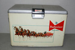 Vintage 1950's Budweiser King Of Beers Clydesdale Graphic Metal Cooler