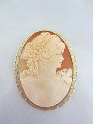Antique Victorian Shell Cameo Brooch/pin/pendant 14k Gold Filigree Make Offer