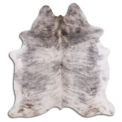 Real Cowhide Rug Light Gray Brindle Size 6 by 7 ft Top Quality Large Size